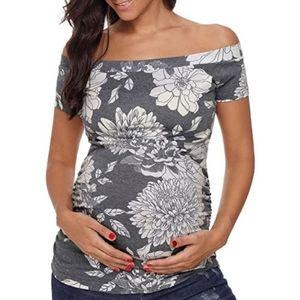 Maternity Off Shoulder Side Ruched Top